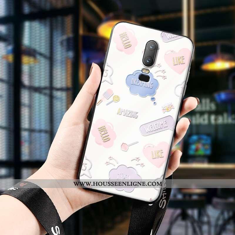 Étui Oneplus 6 Ultra Légère Fluide Doux Gaufrage Dimensionnel Téléphone Portable Créatif Rose