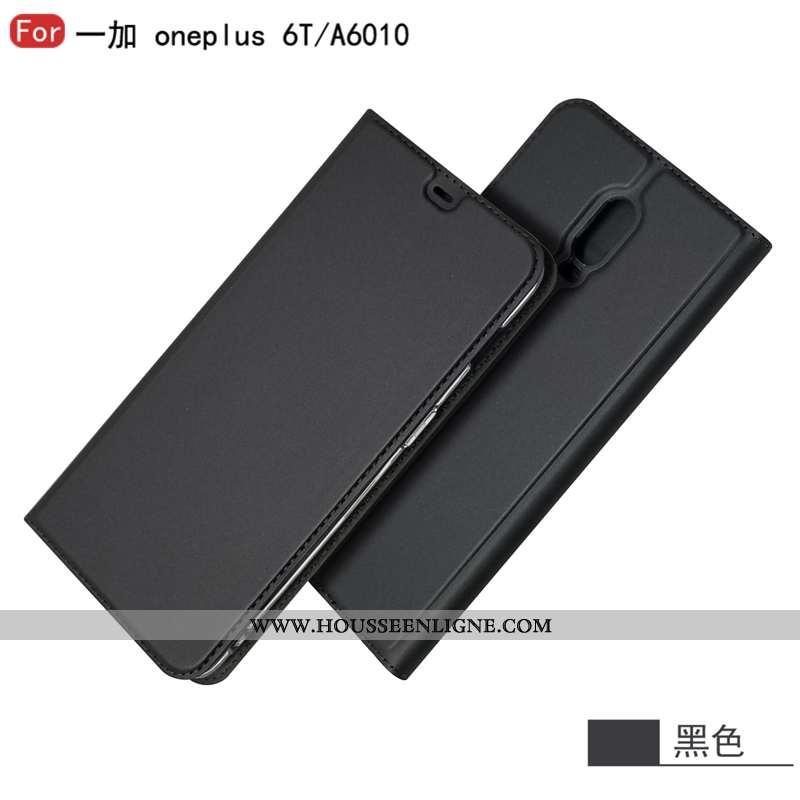 Étui Oneplus 6t Cuir Protection Téléphone Portable Business Carte Incassable Noir