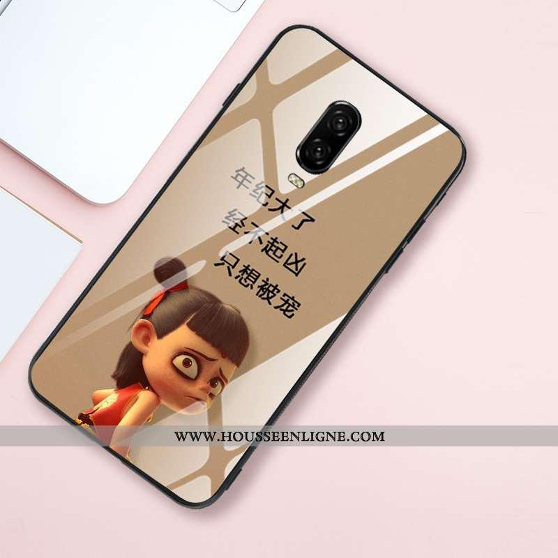 Étui Oneplus 6t Protection Verre Créatif Fluide Doux Tendance Net Rouge Style Chinois Khaki