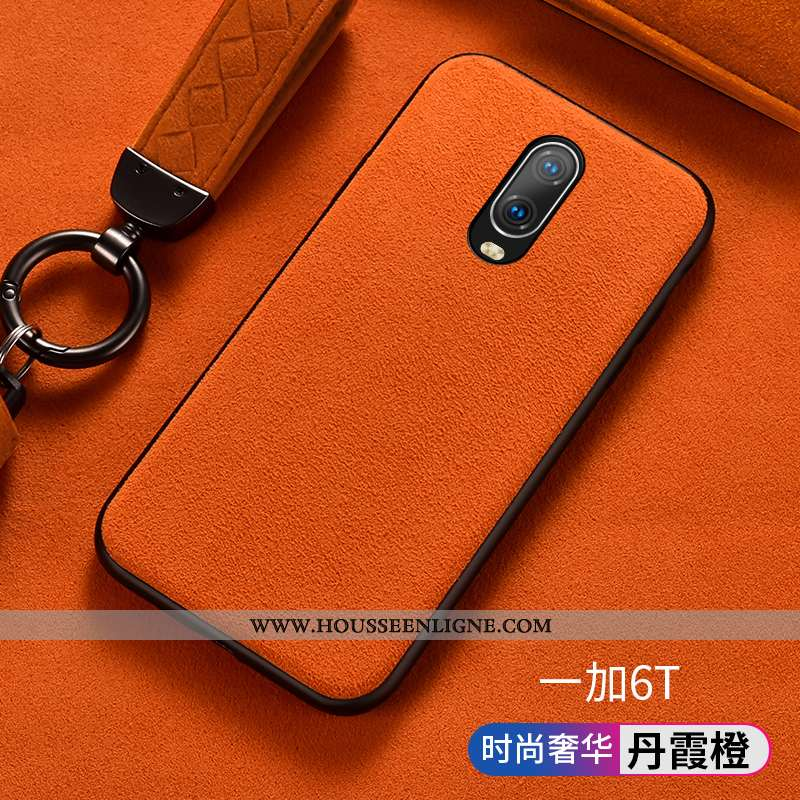 Étui Oneplus 6t Silicone Protection Business Europe Luxe Orange Téléphone Portable