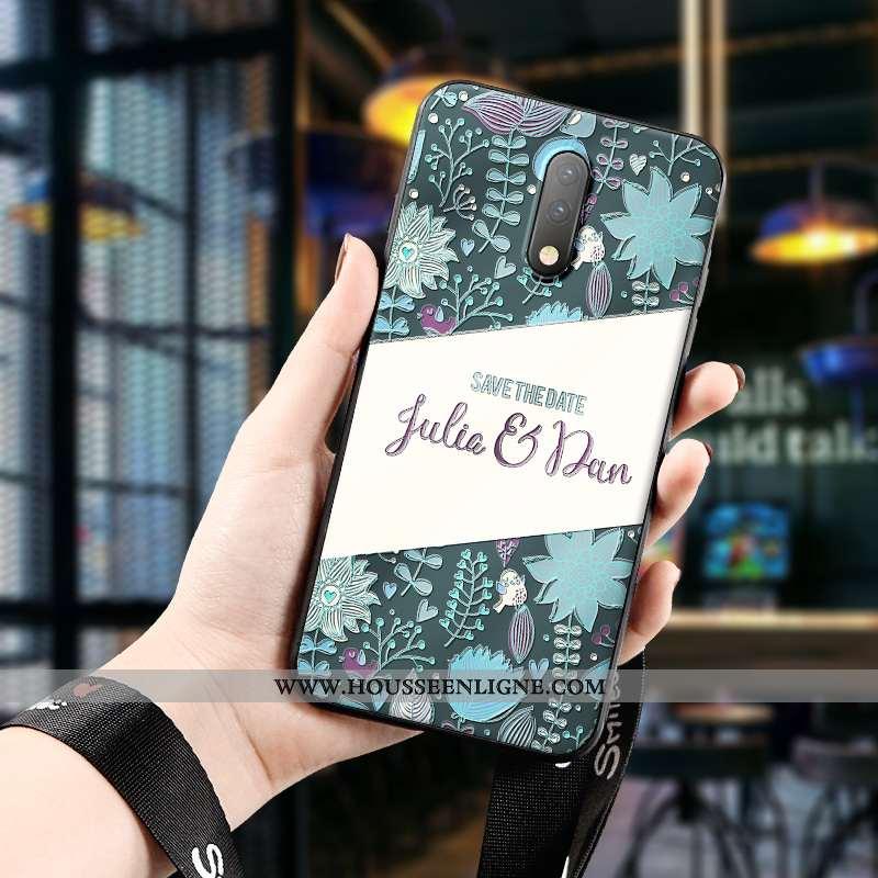 Étui Oneplus 7 Délavé En Daim Personnalité Dimensionnel Téléphone Portable Tendance Art Tout Compris