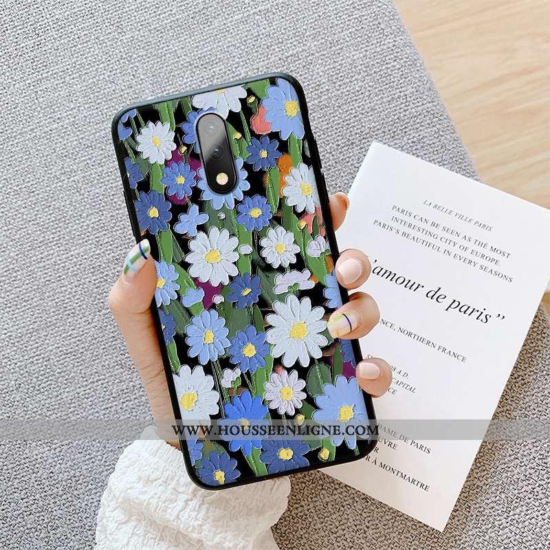 Étui Oneplus 7 Gaufrage Ultra Téléphone Portable Délavé En Daim Silicone Fluide Doux Coque Bleu