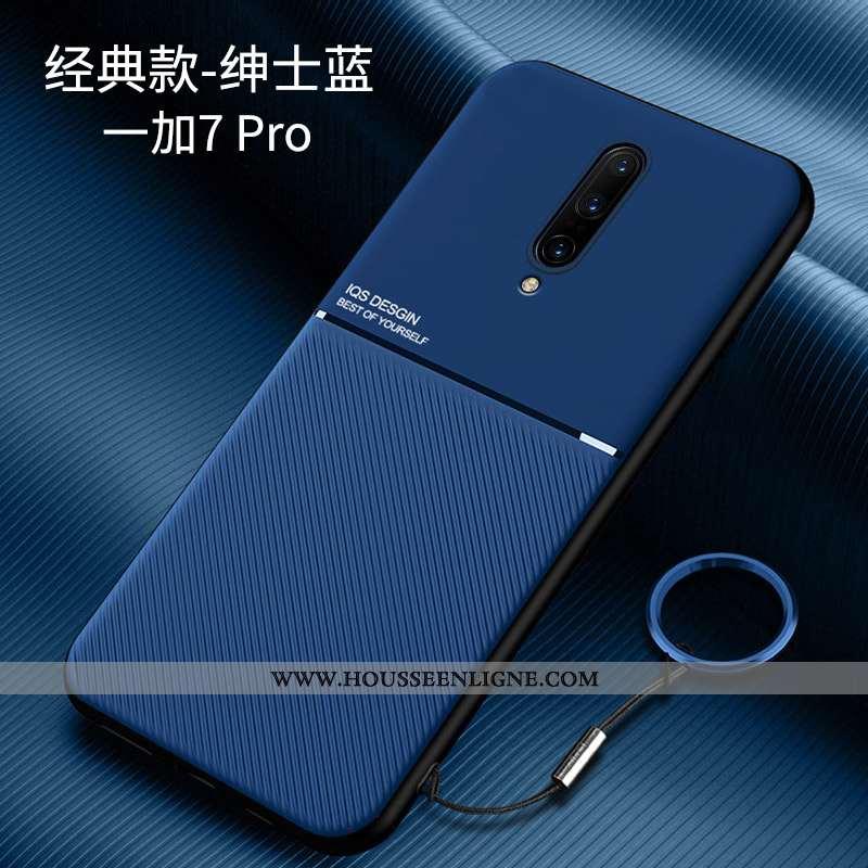 Étui Oneplus 7 Pro Personnalité Créatif Téléphone Portable Silicone Bleu Marin Net Rouge Bleu Foncé