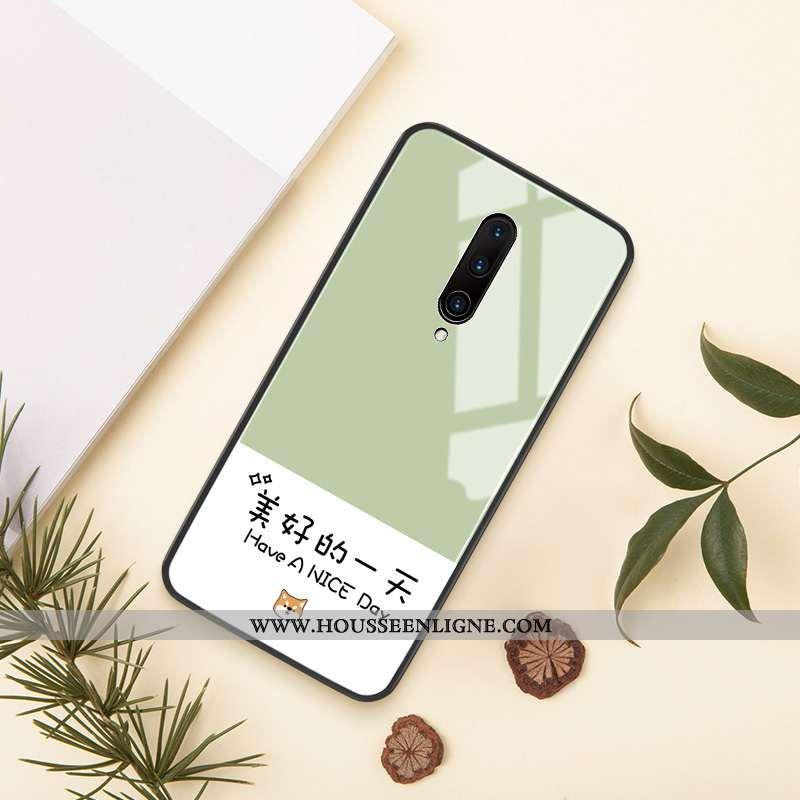 Étui Oneplus 7 Pro Verre Personnalité Créatif Amoureux Vent Protection Téléphone Portable Verte