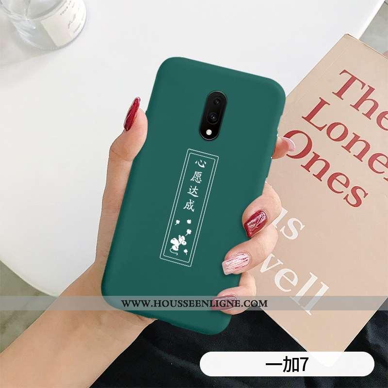 Étui Oneplus 7 Silicone Mode Légère Net Rouge Tout Compris Délavé En Daim Cœur Verte