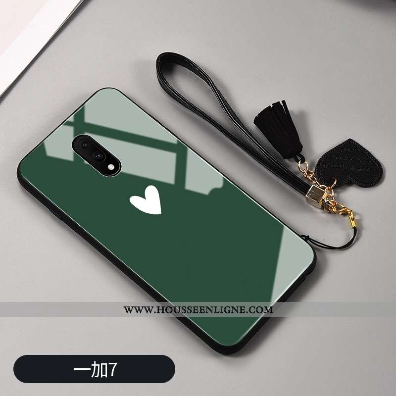 Étui Oneplus 7 Verre Personnalité Tendance Téléphone Portable Peinte À La Main Tout Compris Verte