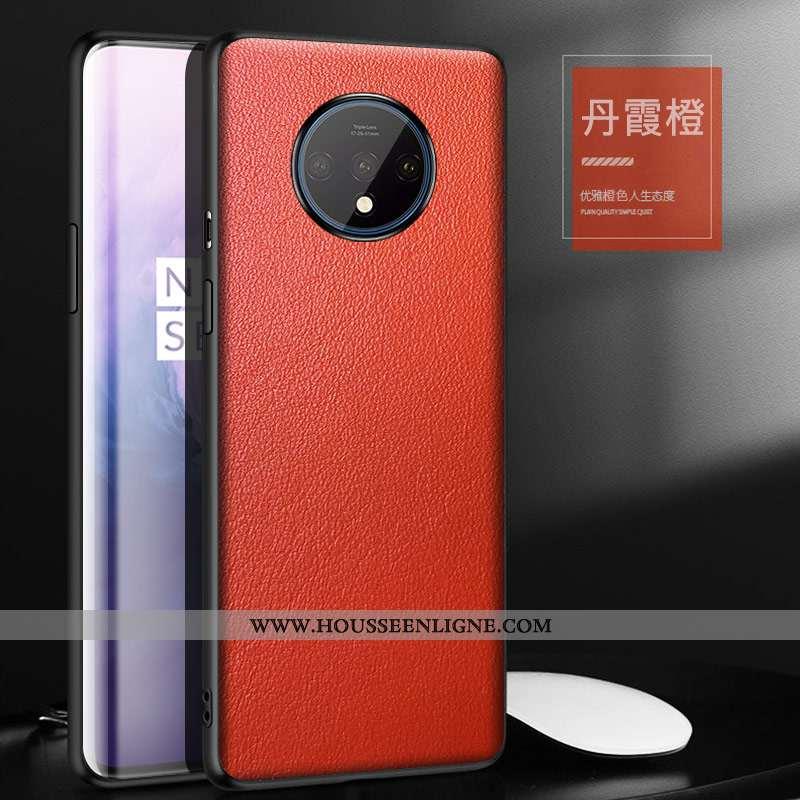 Étui Oneplus 7t Créatif Cuir Véritable Incassable Personnalité Luxe Orange Téléphone Portable