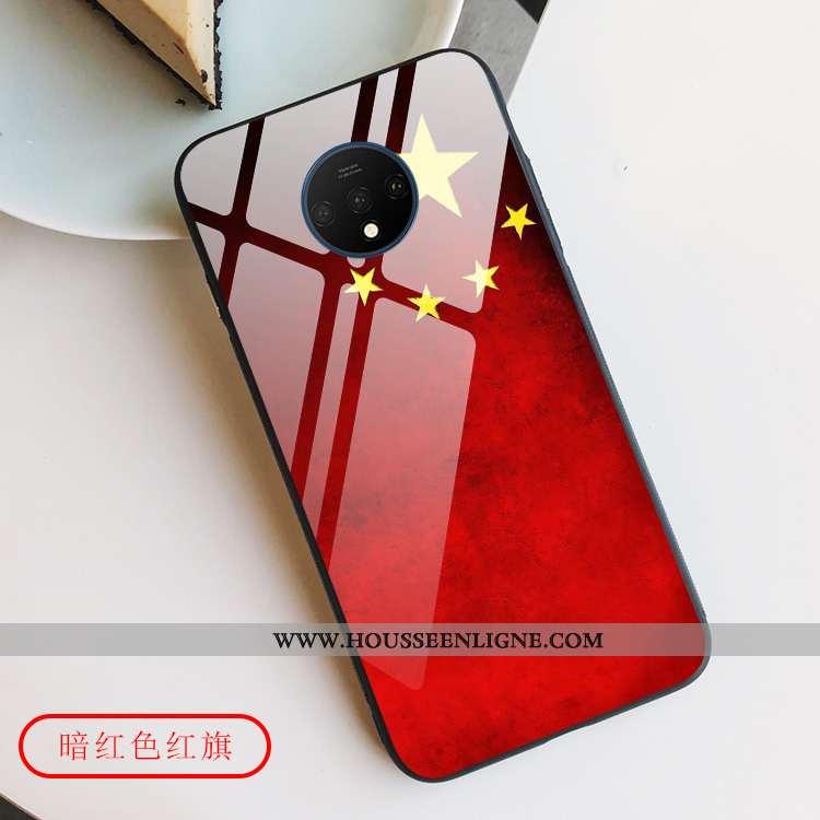 Étui Oneplus 7t Créatif Protection Verre Tout Compris Téléphone Portable Coque Rouge