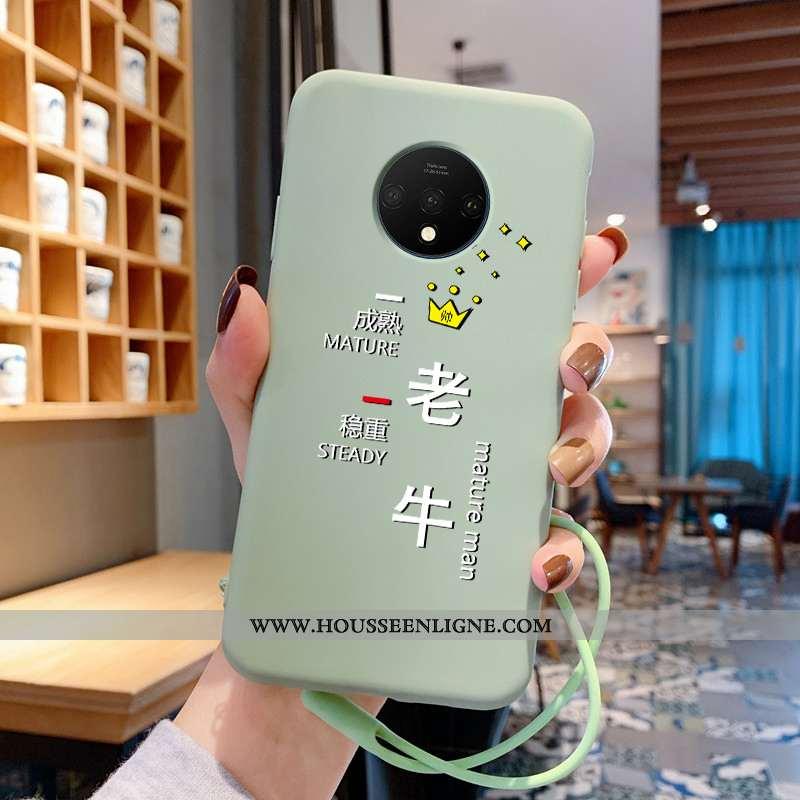 Étui Oneplus 7t Légère Fluide Doux Téléphone Portable Dessin Animé Silicone Coque Amoureux Verte
