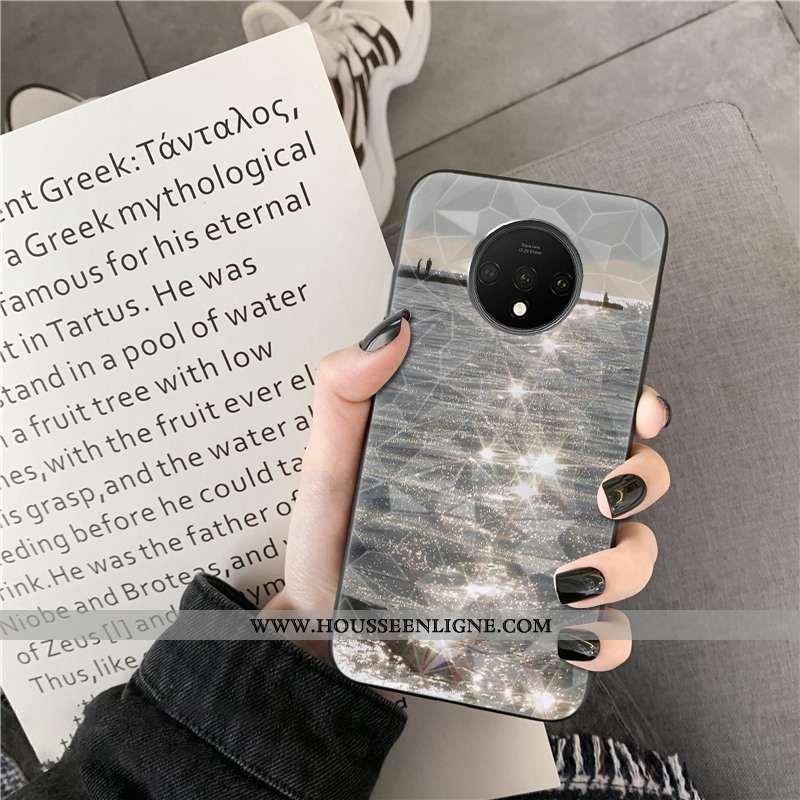 Étui Oneplus 7t Modèle Fleurie Mode Téléphone Portable Net Rouge Coque Losange Gris