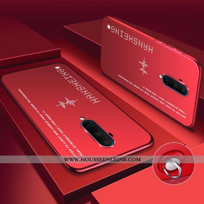 Étui Oneplus 7t Pro Délavé En Daim Personnalité Net Rouge Téléphone Portable Coque Légère Rouge