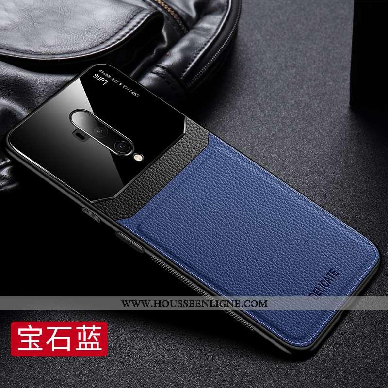 Étui Oneplus 7t Pro Fluide Doux Silicone Délavé En Daim Téléphone Portable Difficile Business Bleu F