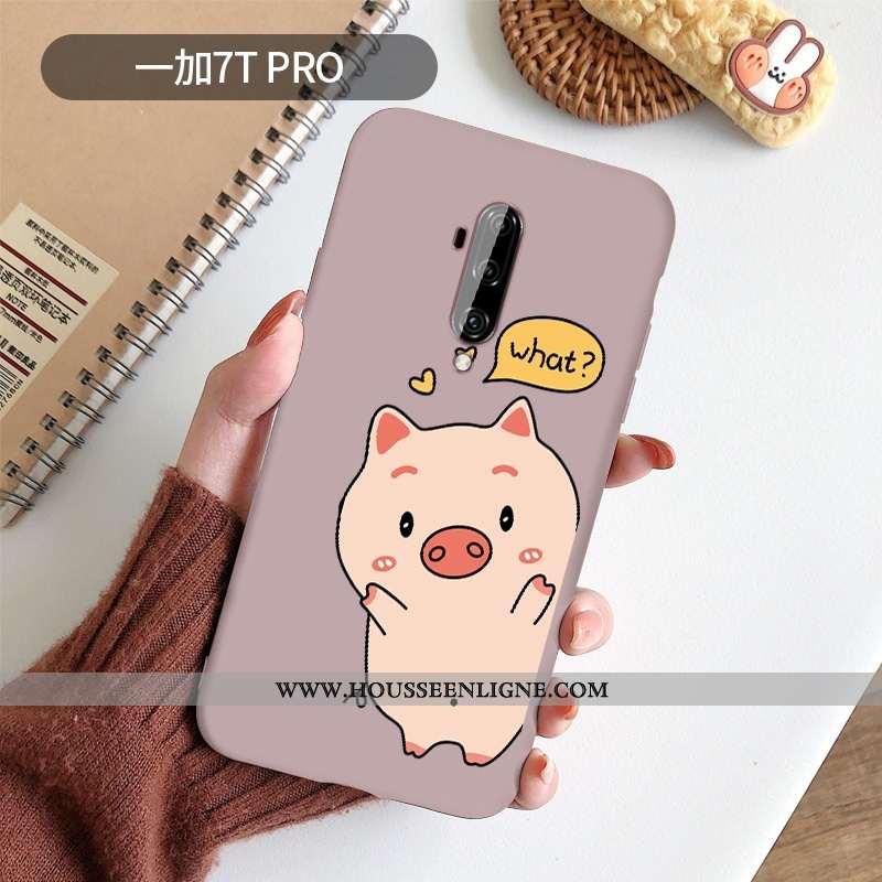 Étui Oneplus 7t Pro Protection Dessin Animé Rose Dragon Silicone Téléphone Portable Coque