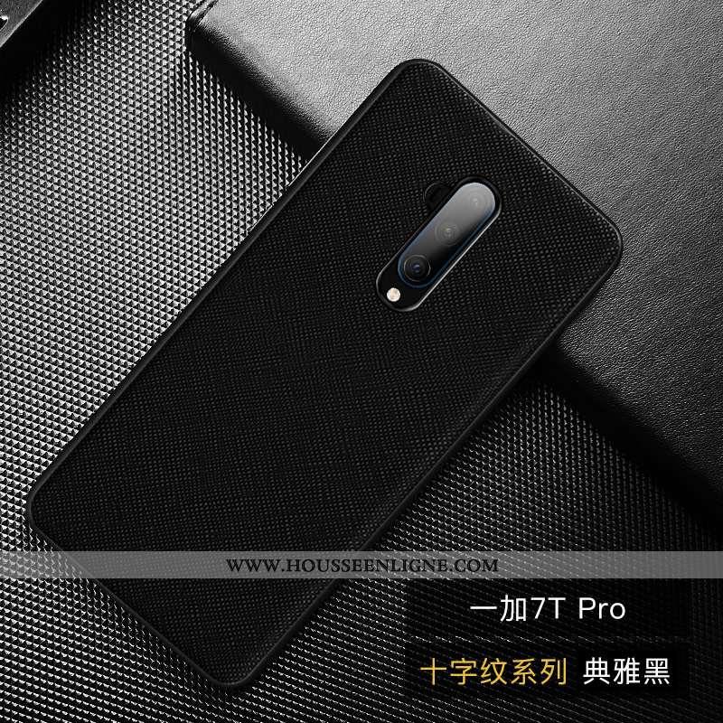 Étui Oneplus 7t Pro Protection Personnalité Noir Cuir Haut Simple Coque Téléphone Portable