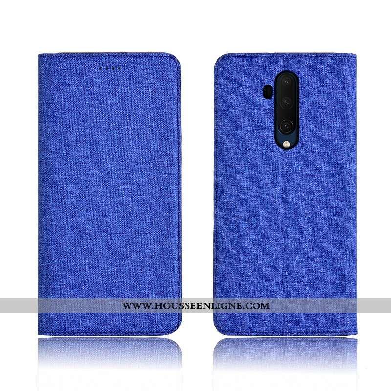 Étui Oneplus 7t Pro Silicone Protection Cuir Bleu Marin Tout Compris Lin Clamshell Bleu Foncé