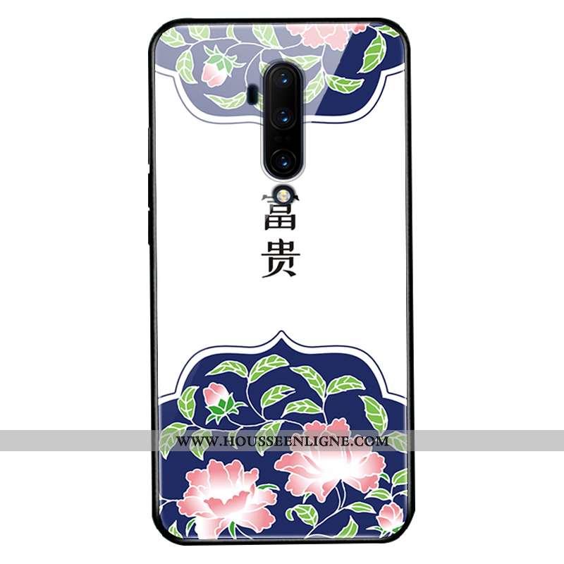 Étui Oneplus 7t Pro Verre Silicone Protection Téléphone Portable Blanc Coque Blanche