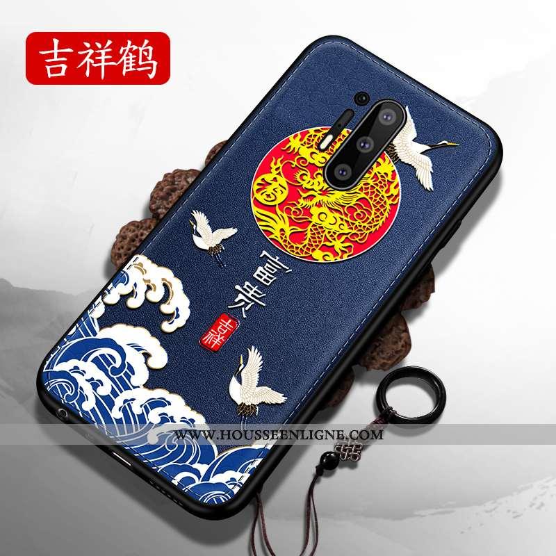 Étui Oneplus 8 Pro Ultra Tendance Bleu Marin Difficile Nouveau Fluide Doux Style Chinois Bleu Foncé