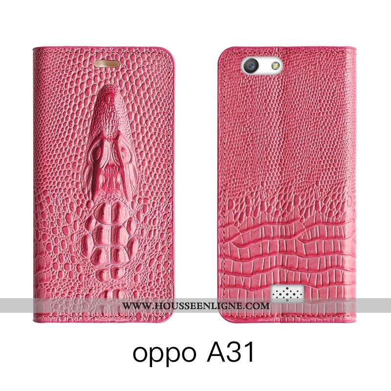 Étui Oppo A31 Cuir Véritable Cuir Téléphone Portable Bovins Tout Compris Rouge Rose