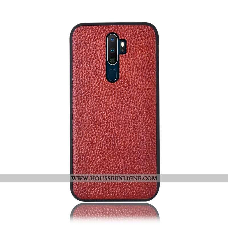 Étui Oppo A5 2020 Cuir Véritable Protection Téléphone Portable Incassable Vin Rouge Litchi Bordeaux