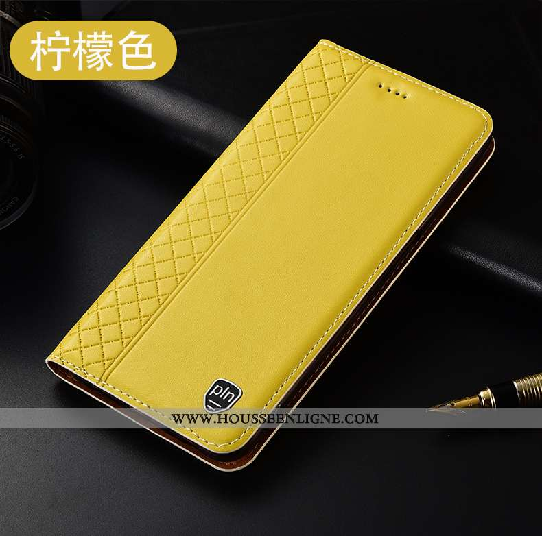 Étui Oppo A5 2020 Cuir Véritable Protection Tout Compris Housse Incassable Téléphone Portable Jaune