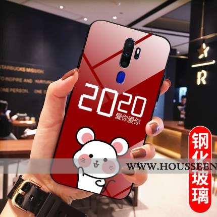 Étui Oppo A5 2020 Fluide Doux Protection Miroir Rouge Nouveau Rat Tempérer