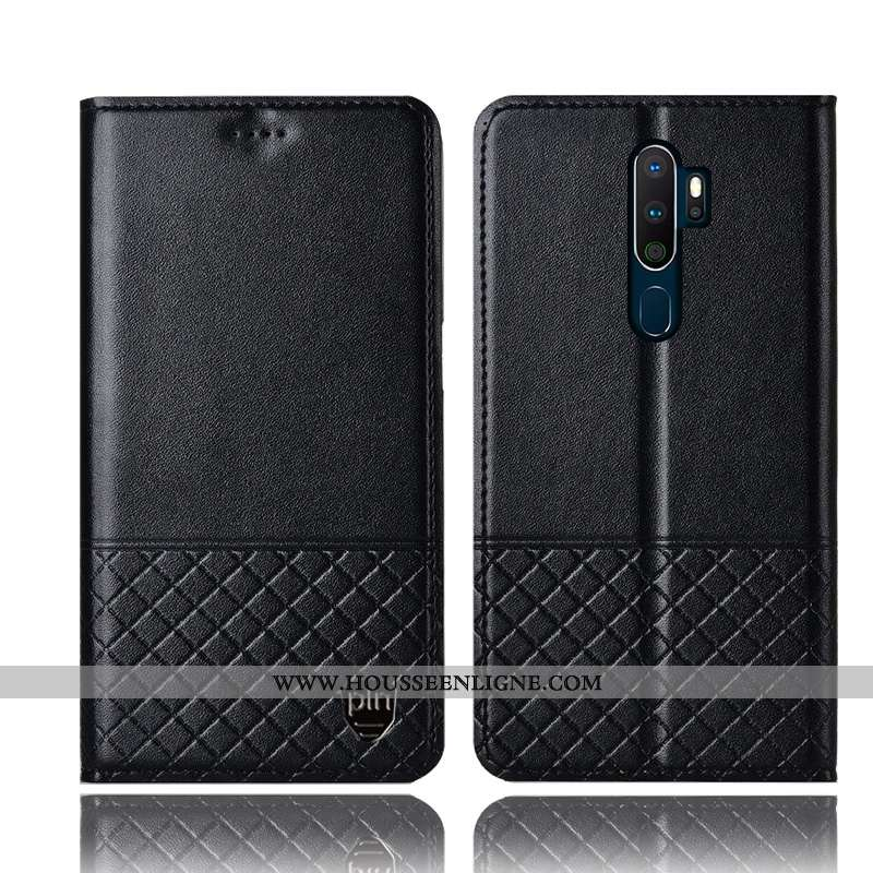 Étui Oppo A5 2020 Protection Cuir Véritable Noir Coque Tout Compris Incassable