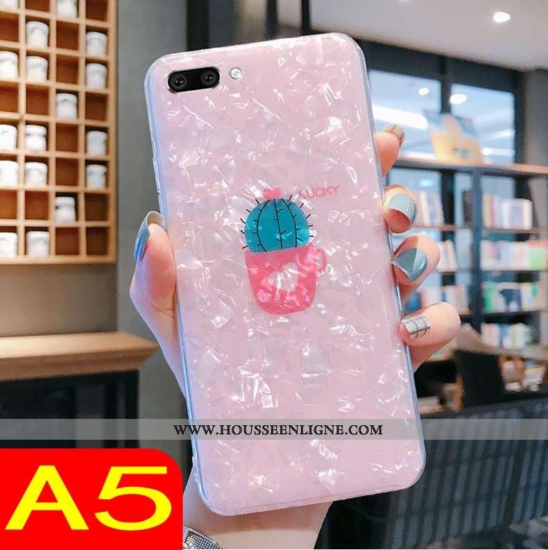 Étui Oppo A5 Tendance Fluide Doux Transparent Téléphone Portable Coque Rose