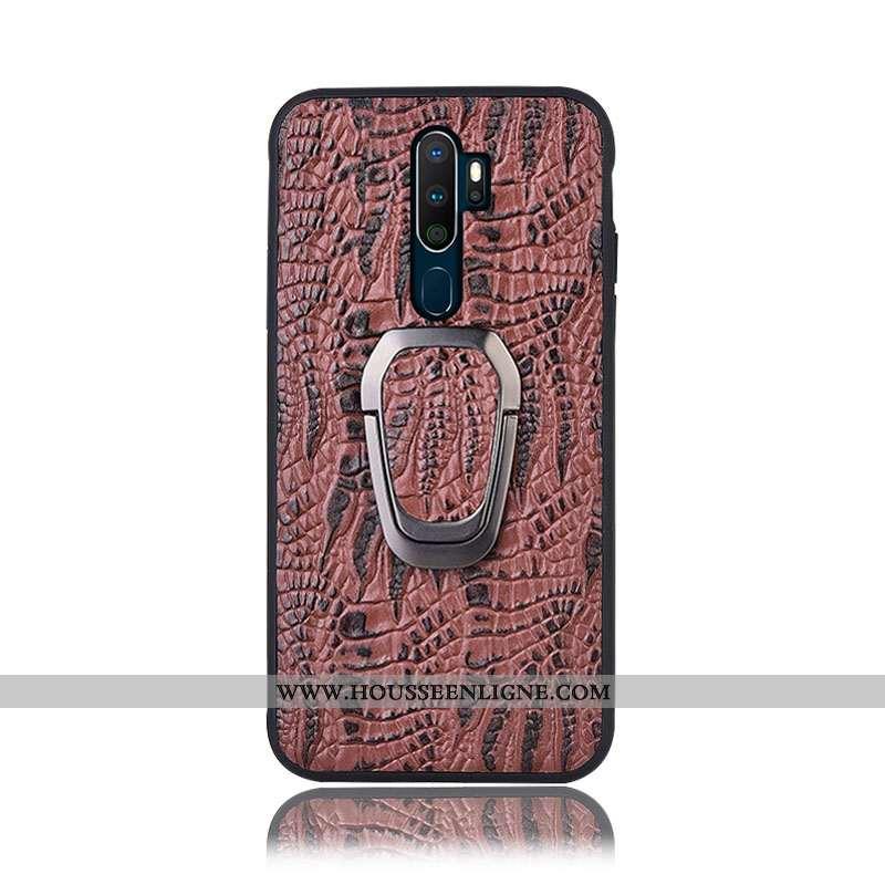 Étui Oppo A9 2020 Protection Cuir Véritable Téléphone Portable Marron Couvercle Arrière Support