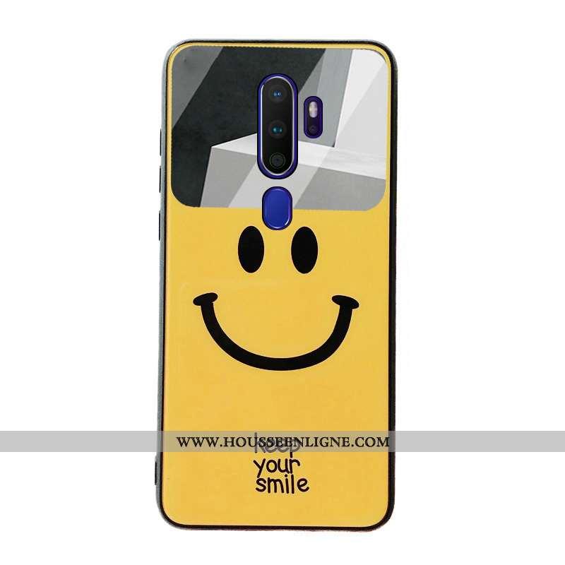 Étui Oppo A9 2020 Verre Dessin Animé Fluide Doux Étudiant Téléphone Portable Difficile Jaune