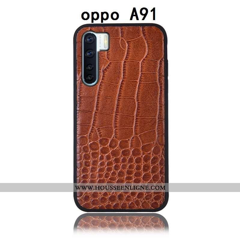 Étui Oppo A91 Cuir Véritable Protection Marron Tout Compris Téléphone Portable Incassable