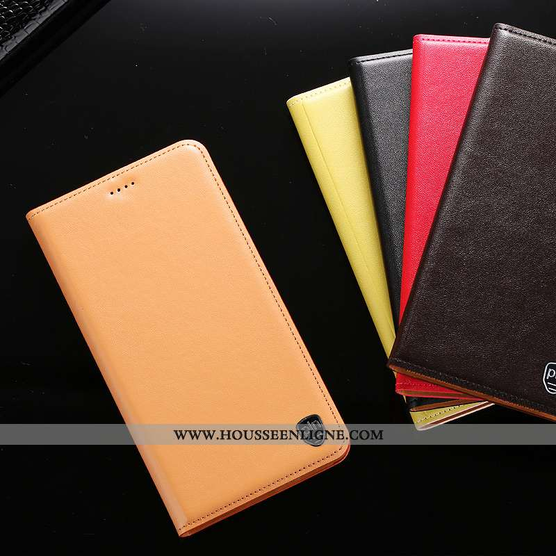 Étui Oppo A91 Cuir Véritable Protection Téléphone Portable Tout Compris Housse Jaune