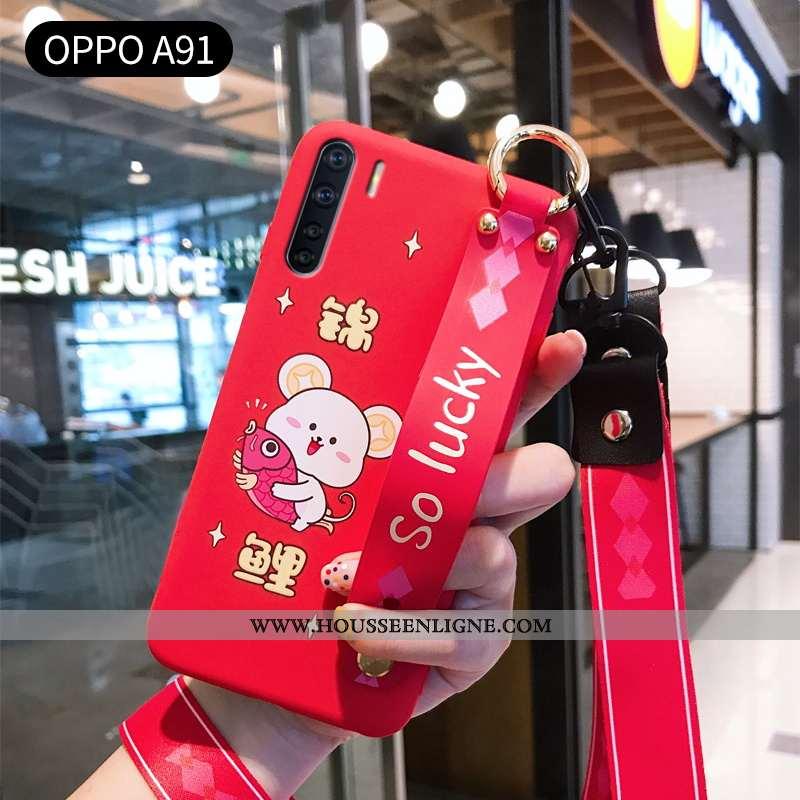 Étui Oppo A91 Ornements Suspendus Personnalité Protection Fluide Doux Charmant Mode Légère Rouge