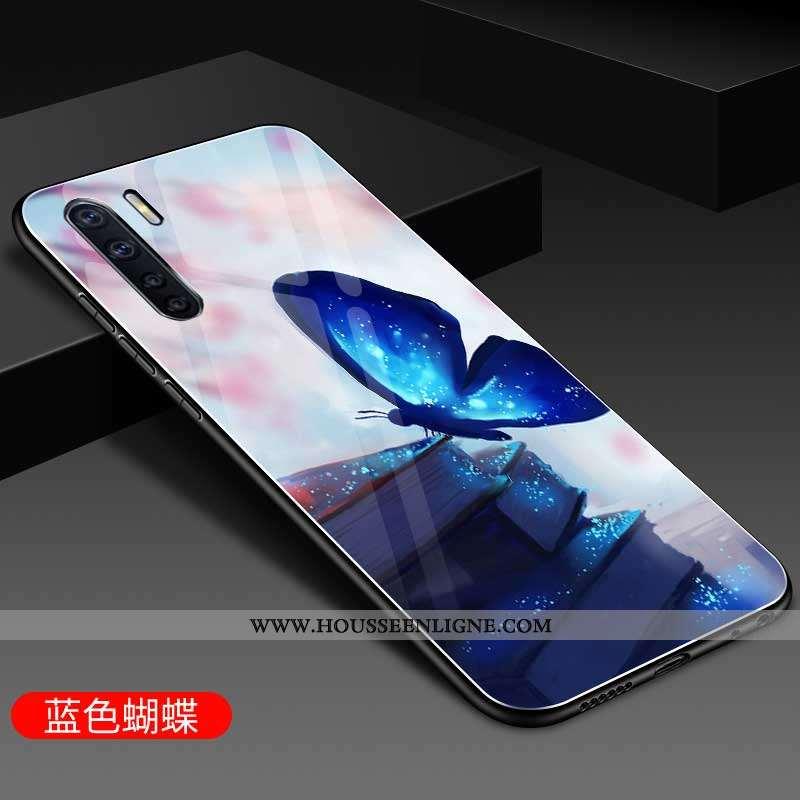 Étui Oppo A91 Verre Personnalité Téléphone Portable Coque Silicone Mode Bleu