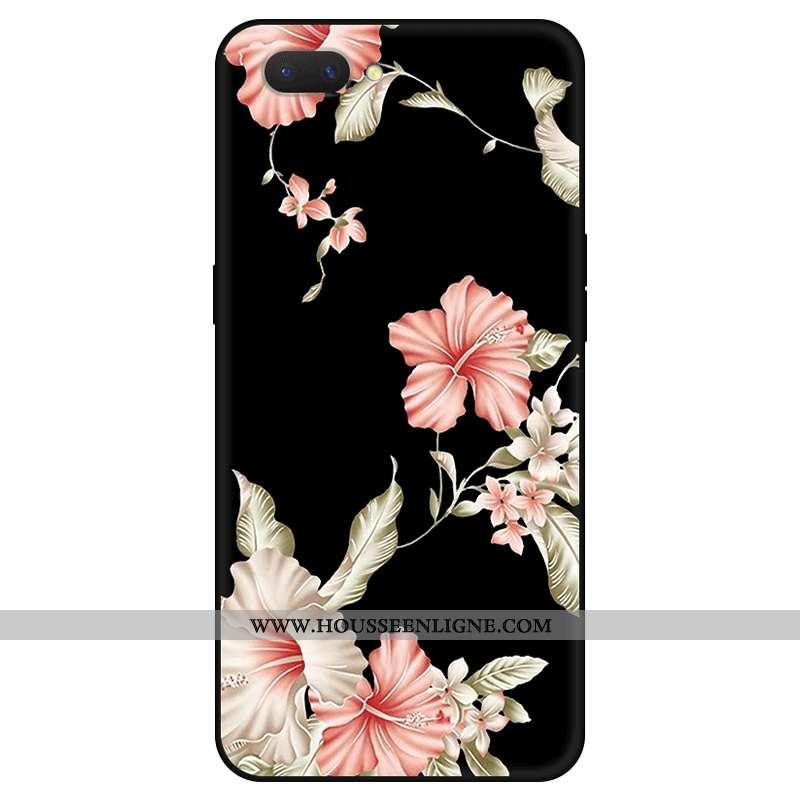 Étui Oppo Ax5 Protection Délavé En Daim Classic Art Simple Frais Fleur Noir