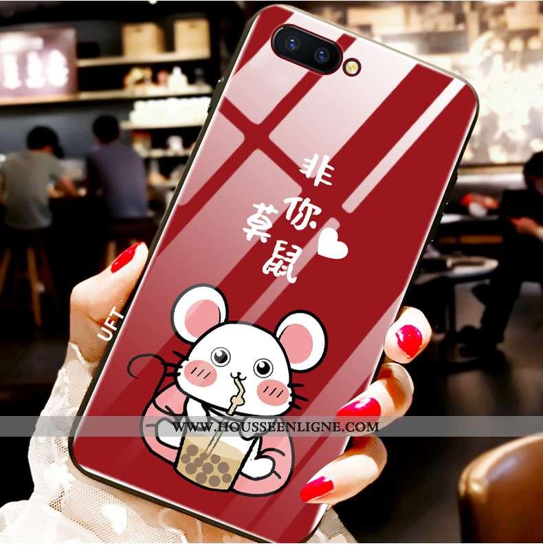 Étui Oppo Ax5 Verre Téléphone Portable Rouge Incassable Tout Compris Rat Net Rouge