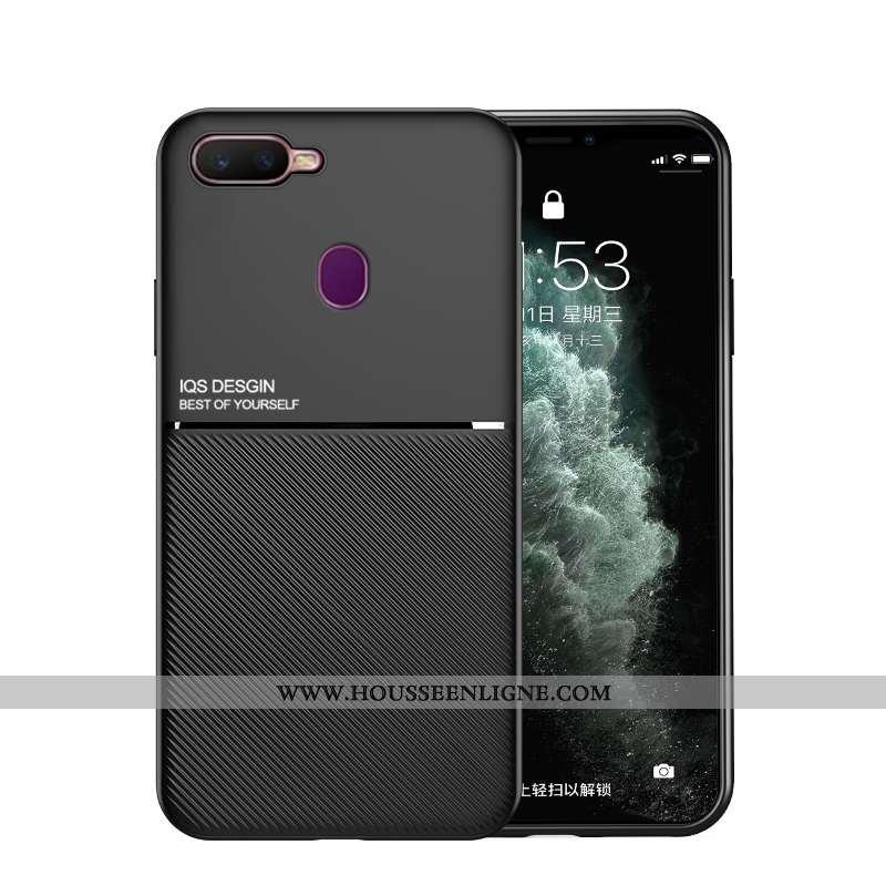 Étui Oppo Ax7 Mode Protection Légère Net Rouge Incassable Cuir Téléphone Portable Noir