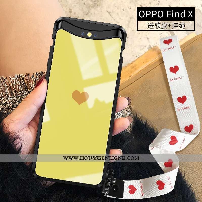 Étui Oppo Find X Personnalité Ultra Coque Verre Simple Légère Frais Jaune