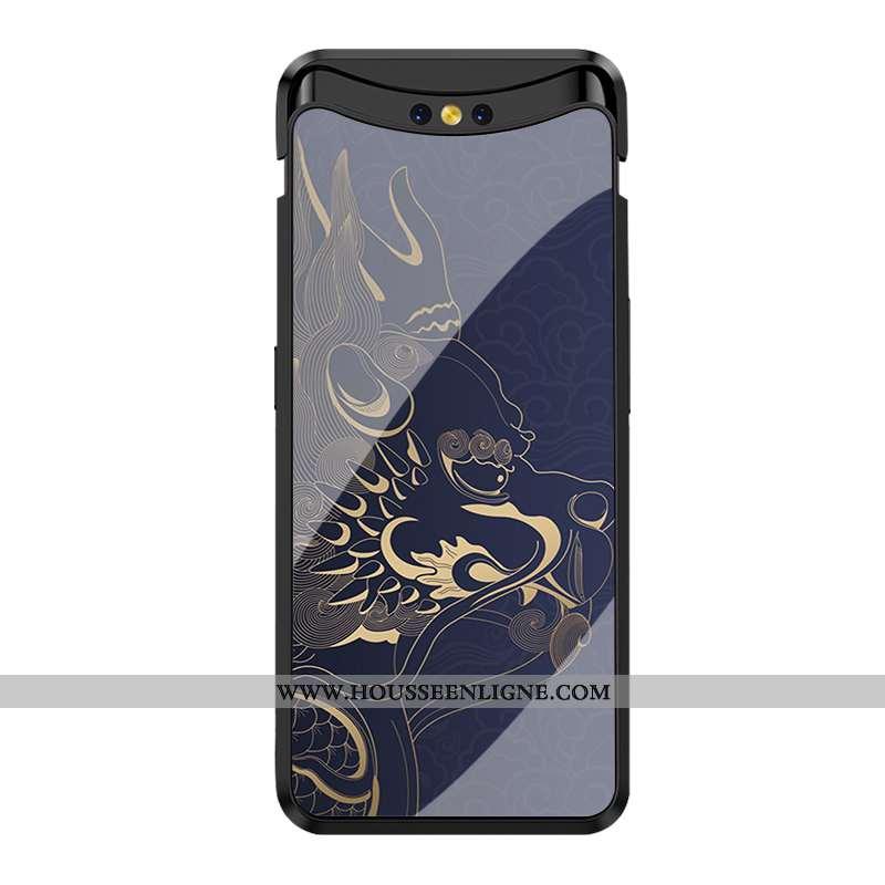 Étui Oppo Find X Protection Verre Miroir Tendance Incassable Bleu Marin Bleu Foncé
