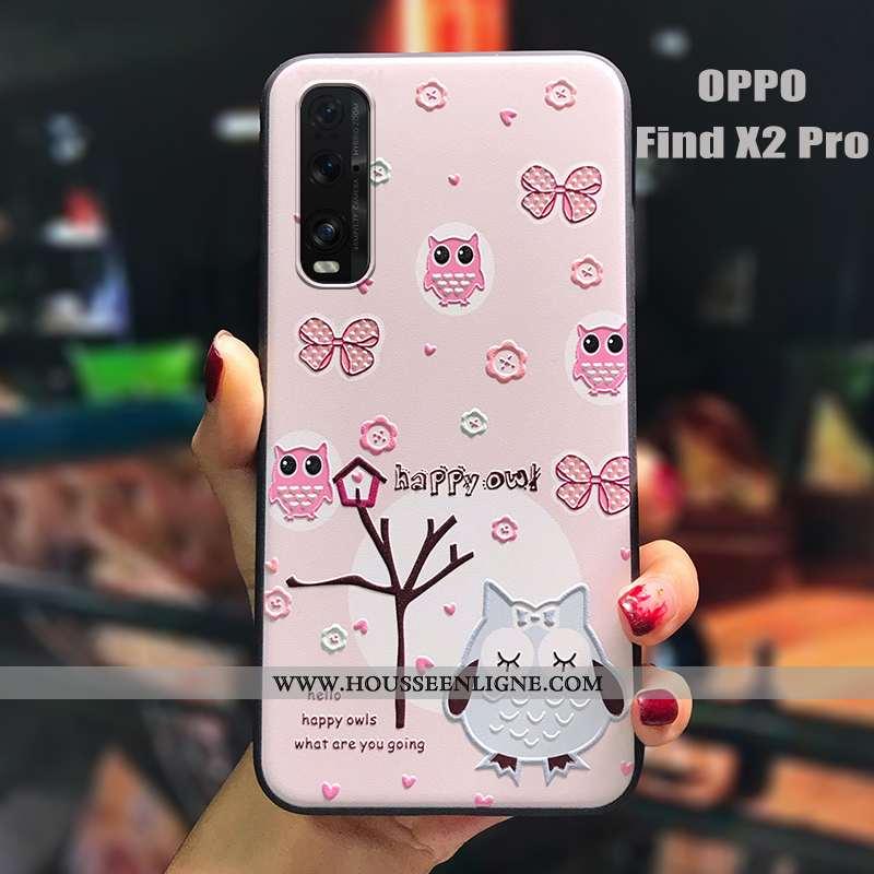 Étui Oppo Find X2 Pro Charmant Tendance Tout Compris Dessin Animé Petit Silicone Gaufrage Rose