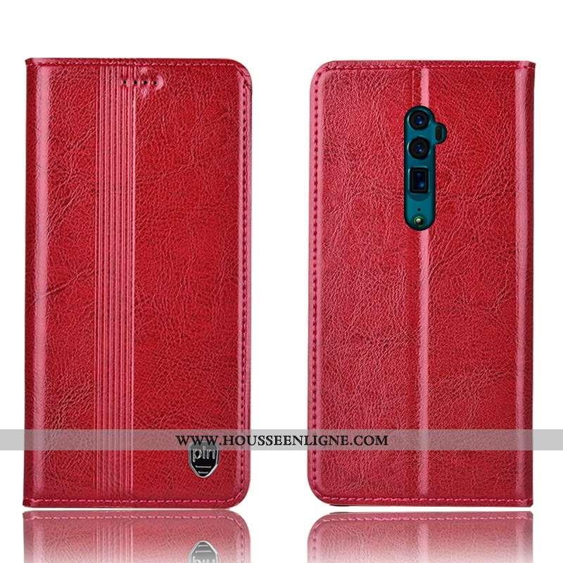Étui Oppo Reno 10x Zoom Protection Cuir Véritable Incassable Téléphone Portable Tout Compris Rouge