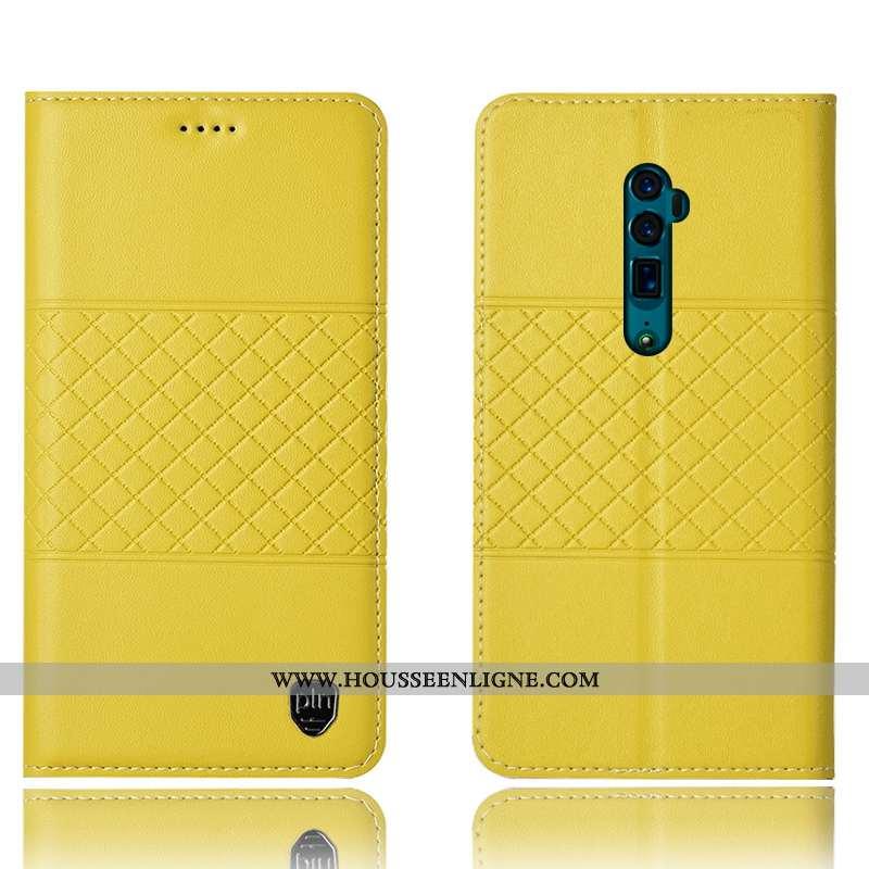 Étui Oppo Reno 10x Zoom Protection Cuir Véritable Incassable Tout Compris Jaune Téléphone Portable C