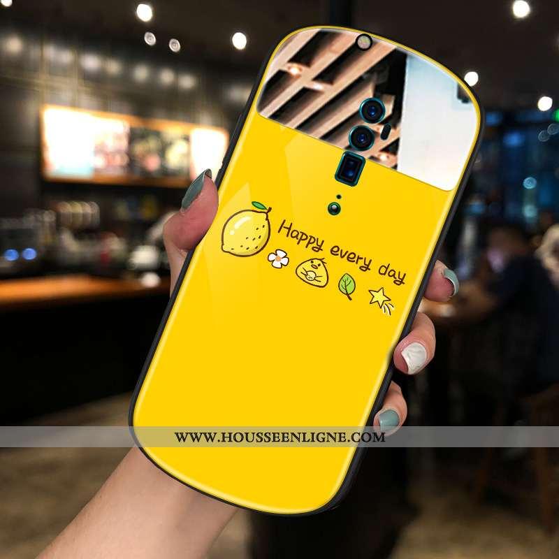 Étui Oppo Reno 10x Zoom Tendance Jaune Rond Maquillage Net Rouge Téléphone Portable Miroir