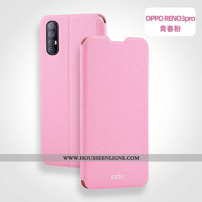 Étui Oppo Reno 3 Pro Protection Cuir Silicone Téléphone Portable Incassable Coque Rose