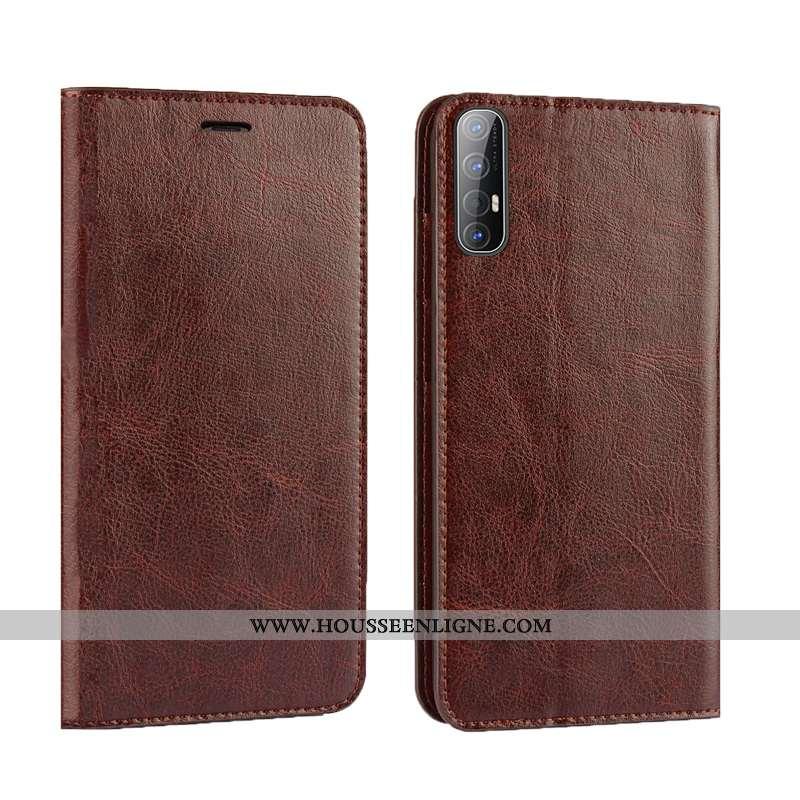Étui Oppo Reno 3 Pro Protection Luxe Téléphone Portable Business Qualité Cuir Marron