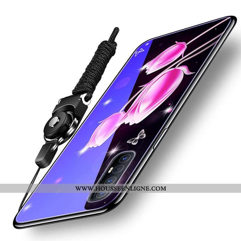 Étui Oppo Reno 3 Pro Verre Fluide Doux Difficile Silicone Téléphone Portable Net Rouge Violet