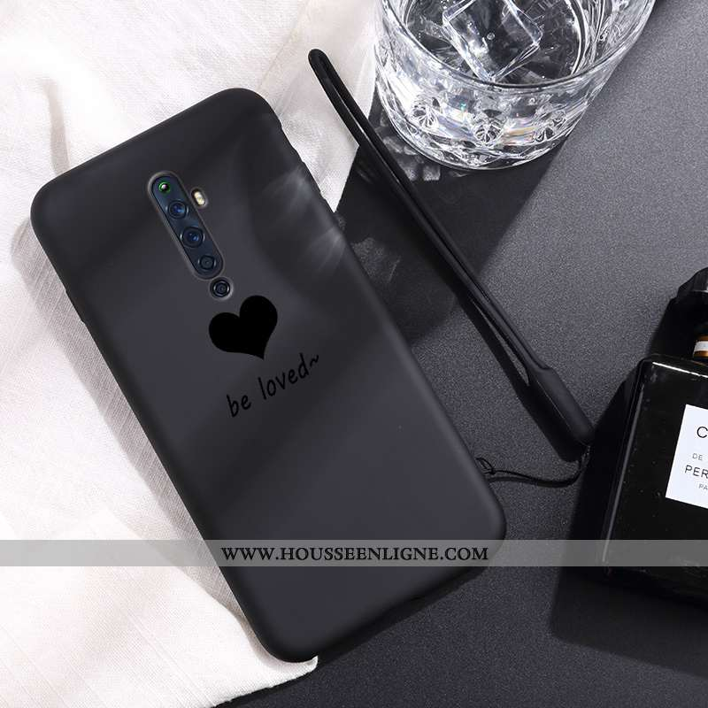 Étui Oppo Reno2 Coque En Silicone Silicone Noir Amour Créatif Amoureux Ultra