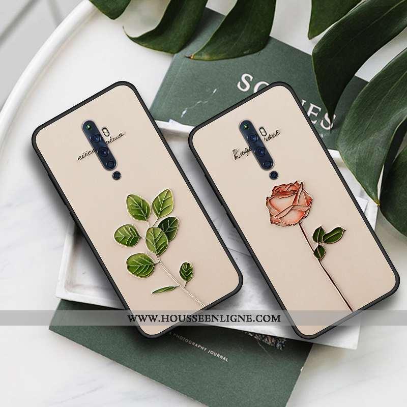 Étui Oppo Reno2 Gaufrage Fluide Doux Vert Coque Téléphone Portable Tout Compris Simple Verte