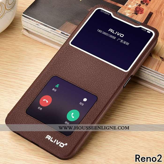 Étui Oppo Reno2 Protection Cuir Incassable Silicone Fluide Doux Marron