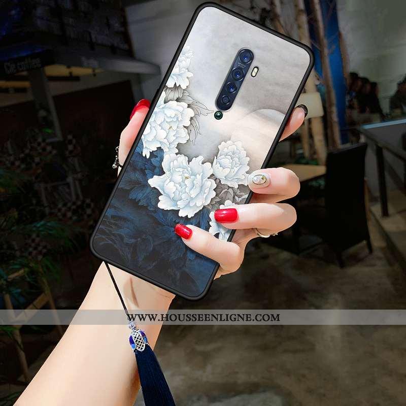 Étui Oppo Reno2 Vintage Tendance Coque Protection Net Rouge Fluide Doux Téléphone Portable Gris