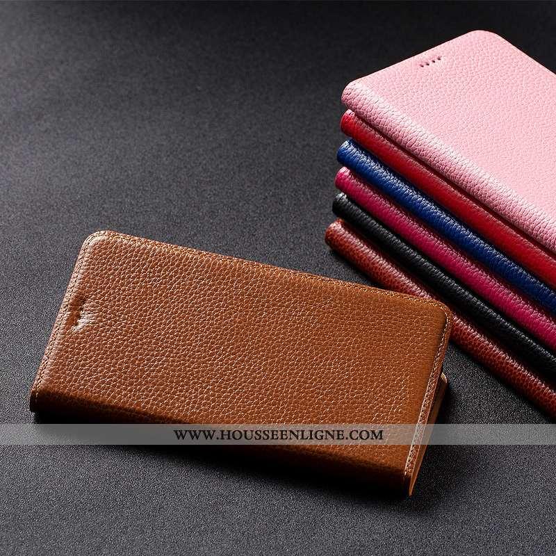 Étui Oppo Reno2 Z Cuir Véritable Protection Téléphone Portable Litchi Incassable Marron